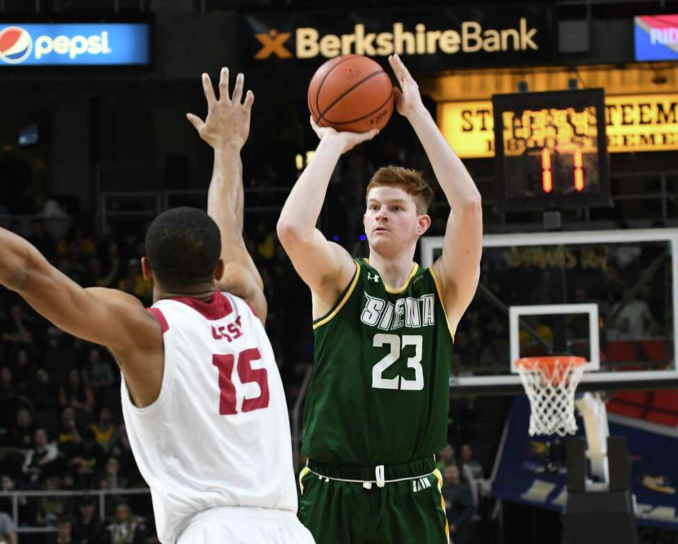 Siena forward Sloan Seymour makes an early field goal during a MAAC Tournament quarterfinal game against Rider on Saturday night, March 9, 2019, at the Times Union Center in Albany, N.Y. (Will Waldron/Times Union)