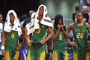 Klein Forest looks on in closing seconds.  UIL boys basketball 6A State Final between Klein Forest and Duncanville on Saturday March 9, 2019 at the Alamodome in San Antonio, Texas. (Ron Cortes/ Special Contributor)