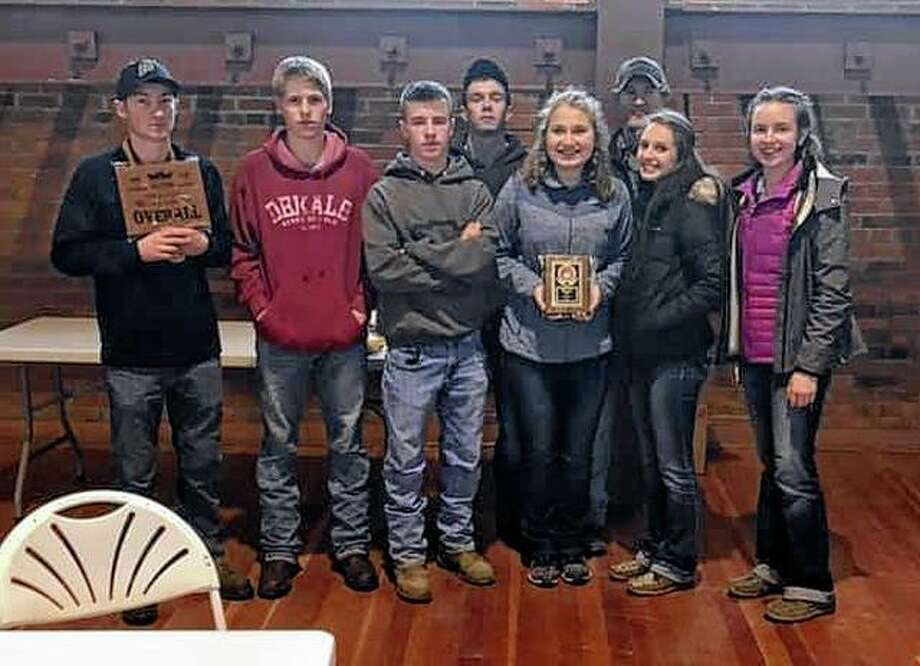 Franklin FFA members went to Springfield on Feb. 23 to attend the Illinois Beef Expo. The A team placed fifth and the B team placed sixth. Luke Bergschneider also placed ninth individually. Those attending included Luke Bergschneider (from left), Luke Schumacher, Levi Brown, Marcus Richards, Bethany Bergschneider, Ethan Hansell, Mollie Allen and Kayla Keeton. Amber Mies, who is not pictured, also attended. Photo: Photo Provided