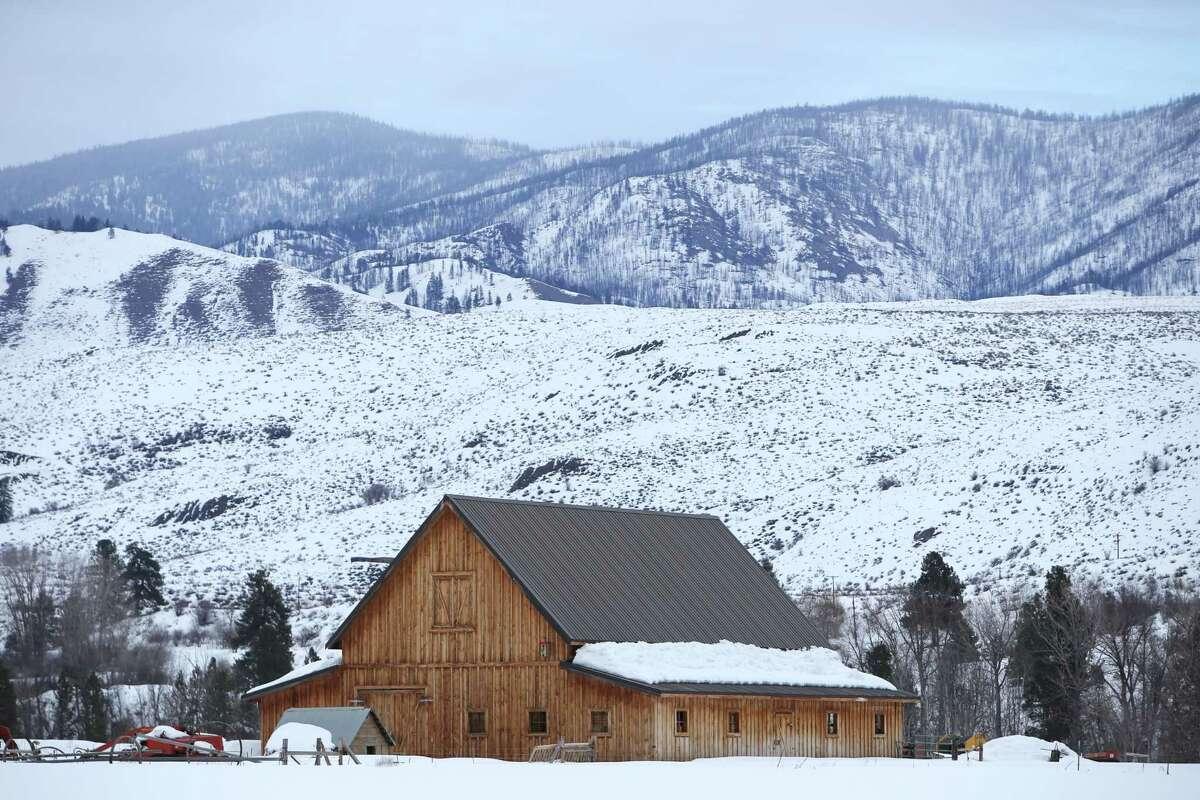 A snow covered barn near Winthrop.