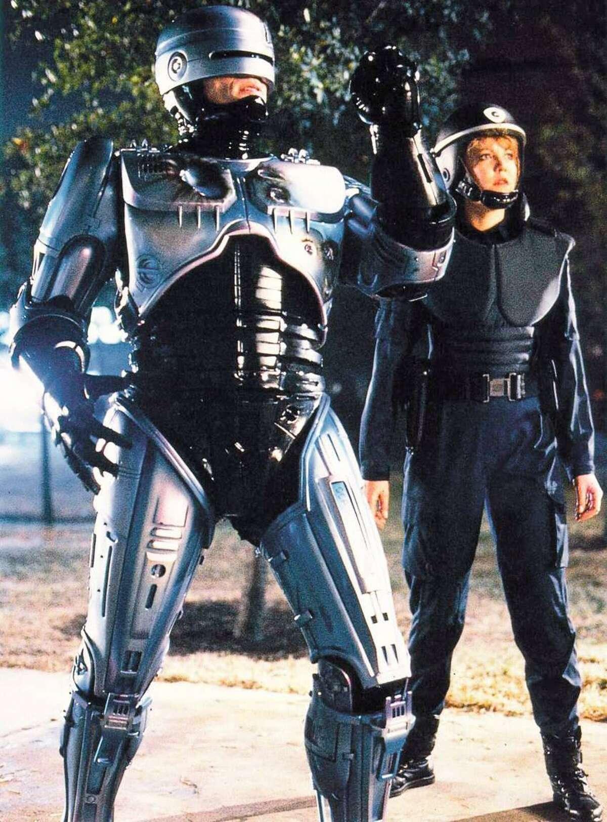 """Peter Weller and Nancy Allen in a scene of """"Robocop"""""""