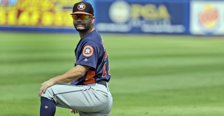 Houston Astros second baseman Jose Altuve warms up before the start of an exhibition spring training baseball game against the New York Mets Saturday, March 2, 2019, in Port St. Lucie, Fla. (AP Photo/Jeff Roberson) Photo: Jeff Roberson/Associated Press