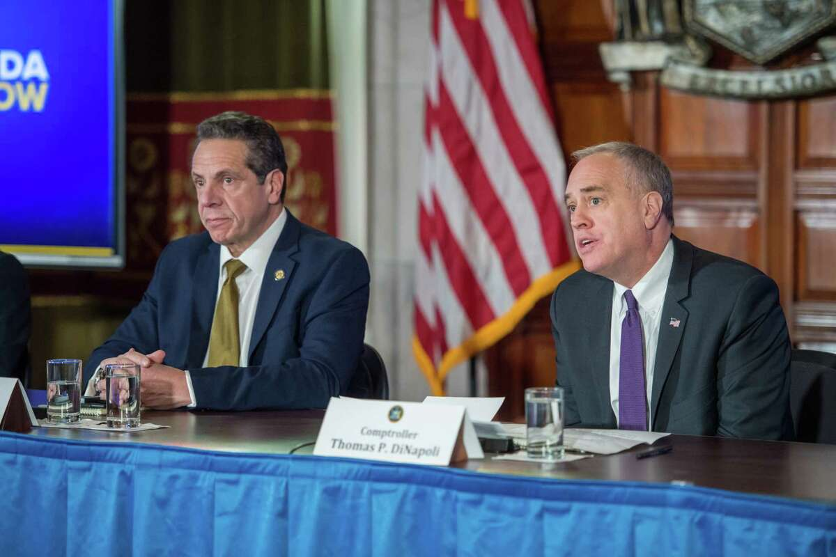 Gov. Andrew Cuomo and state Comptroller Tom DiNapoli on Monday, Feb. 4, 2019. (Office of Gov. Andrew Cuomo)
