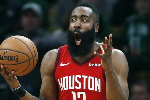 d94f7a20448 1of83PHOTOS  Rockets game-by-game Houston Rockets  James Harden reacts  after being called for a foul during the second half of an NBA basketball  game ...