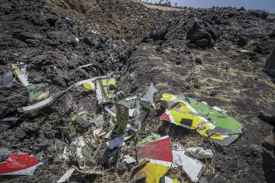 Wreckage lies at the scene of an Ethiopian Airlines flight that crashed shortly after takeoff at Hejere near Bishoftu some 31 miles south south of Addis Ababa, in Ethiopia on Sunday. Photo: Associated Press / Copyright 2019 The Associated Press. All rights reserved.