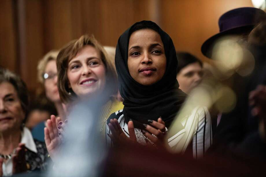 Rep. Ilhan Omar, D-Minn., attends a news conference at the Capitol on Friday, Jan. 4, 2019, the day after she was sworn in. Photo: Washington Post Photo By Salwan Georges. / The Washington Post