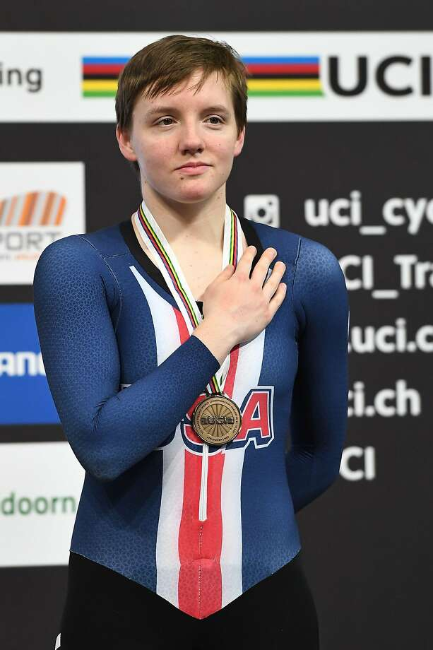 (FILES) In this file photo taken on March 03, 2018 Bronze medallist US Kelly Catlin  poses on the podium after taking part in the women's individual pursuit final during the UCI Track Cycling World Championships in Apeldoorn. - US Olympic cyclist Kelly Catlin died on March 8, 2019 in apparent suicide, she was 23 years old. (Photo by EMMANUEL DUNAND / AFP)EMMANUEL DUNAND/AFP/Getty Images Photo: Emmanuel Dunand, AFP/Getty Images