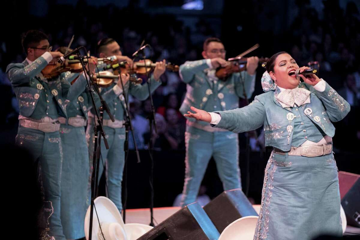 Mariachi Celestial, of Kingsville, perform during the 2019 Houston Livestock Show and Rodeo Go Tejano Committee Mariachi Invitational Showcase on Saturday, March 9, 2019, in Houston.