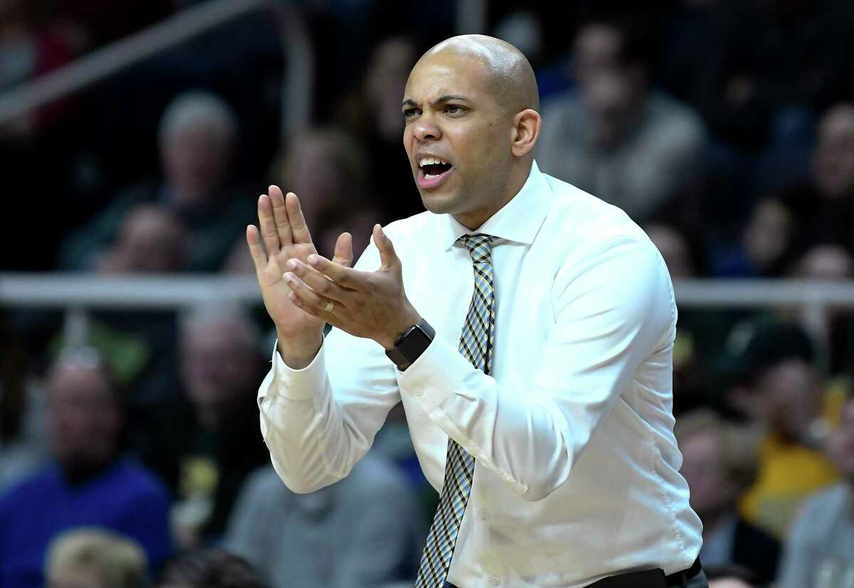 Former Siena coach Jamion Christian is in his second season at George Washington. Their game Wednesday night was postponed. (Hans Pennink / Special to the Times Union)