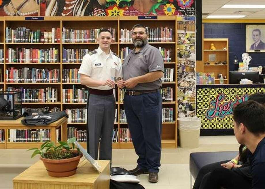 Cadet Isidro Alaniz Jr., and AHS Principal Ernesto Sandoval Jr. Photo: Courtesy Photo
