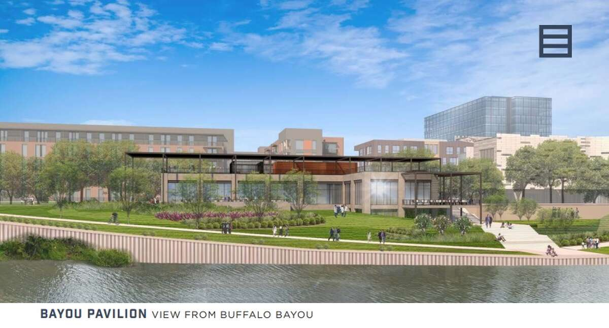 A marketing brochure outlines details for the first of five phases of Midway's East River along Buffalo Bayou.
