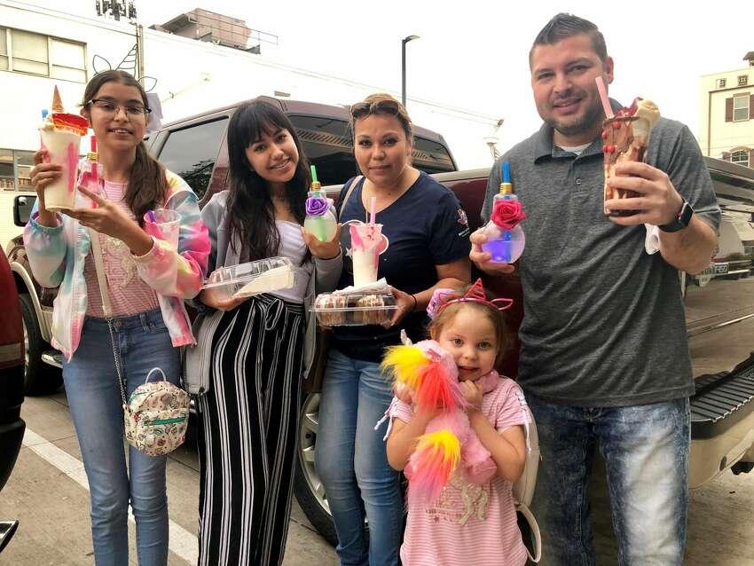 Diana Villanueva, Zoe Obregon, Ivis Villanueva, Nicole Villanueva and Anthony Villanueva at the grand opening weekend of the Unicorn Magical Dessert Bar in Montrose.
