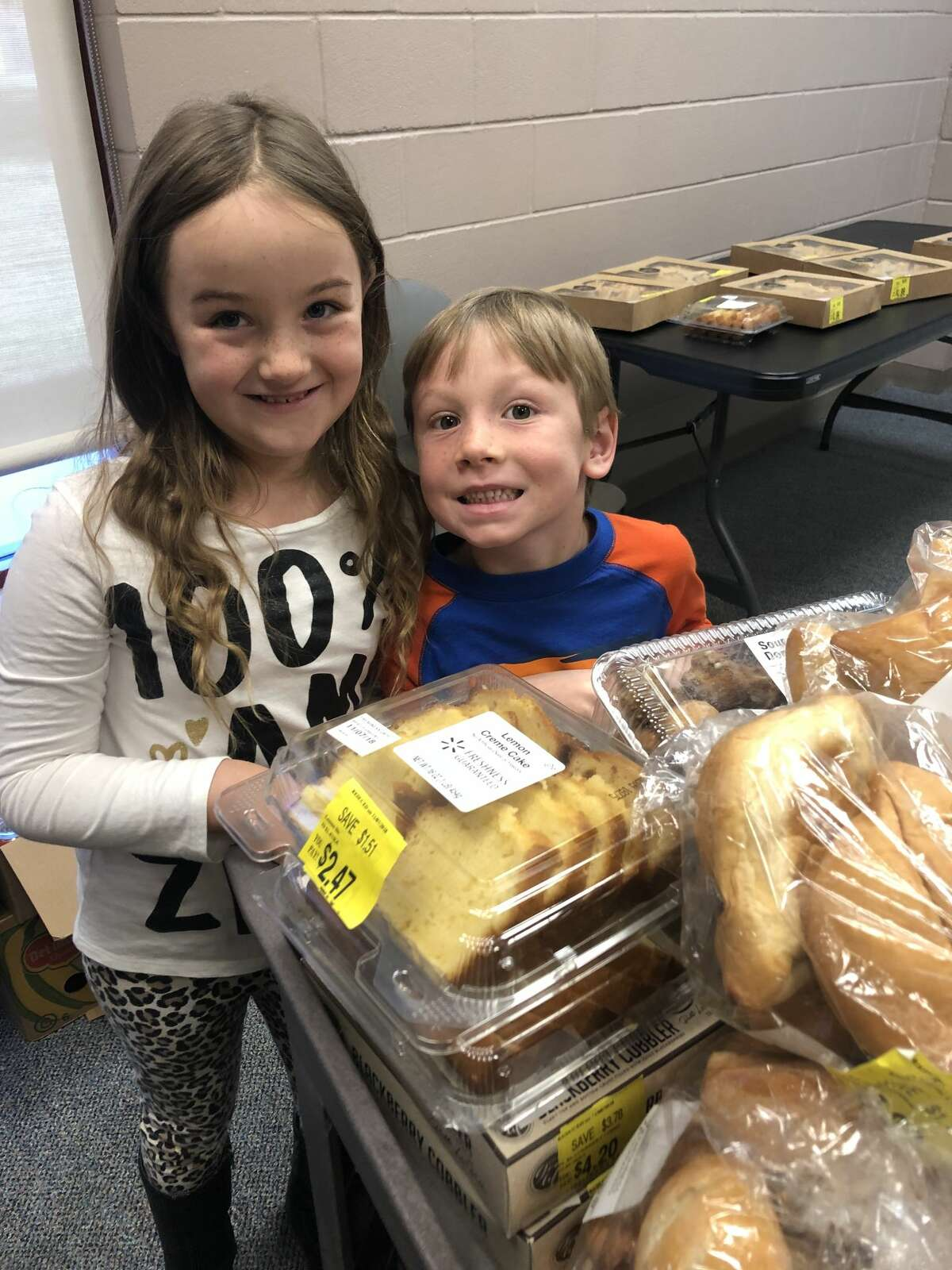 Food pantry: Anna Hutson, left, and Cooper Green