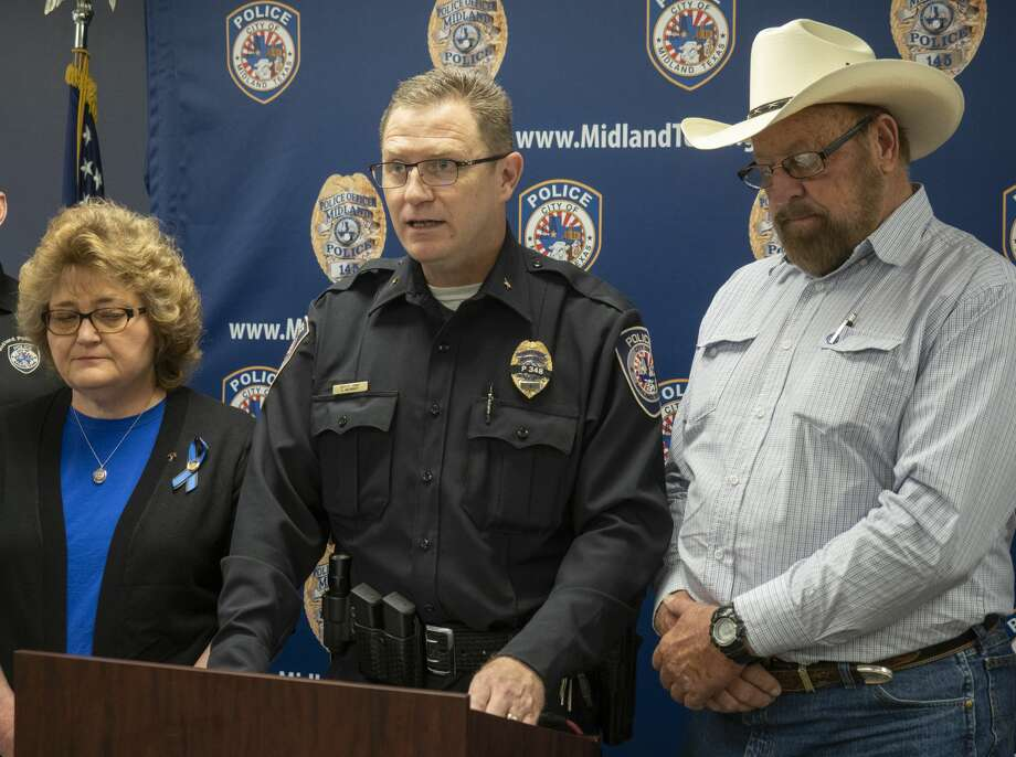 Police Deputy Chief Greg McCright speaks 03/11/2019 for Glendene and Nathan Heidelberg, parents of Officer Nathan Heidelberg. Thanking the community for the outpouring of love and support. Tim Fischer/Reporter-Telegram Photo: Tim Fischer