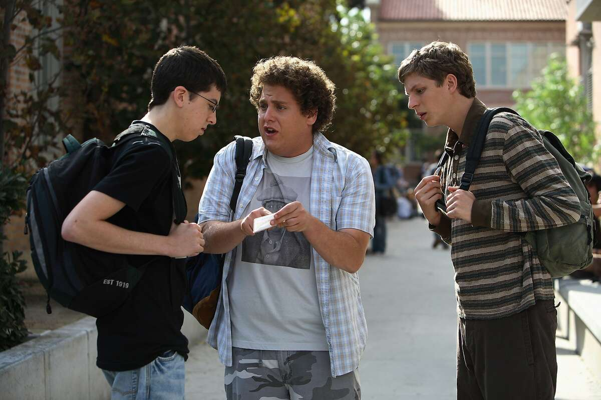Superbad (2007) Available on Hulu July 1 Two co-dependent high school seniors are forced to deal with separation anxiety after their plan to stage a booze-soaked party goes awry.