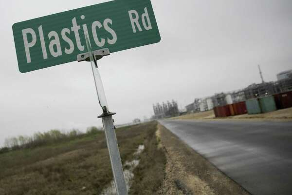 Plastics Road, which was named year ago, is one of two private roads on Dow property in Lake Jackson built using post-consumer recycled plastic as part of the asphalt mix, seen on March 7. They are the first roads using this process in North America, after tests in Thailand and Indonesia.