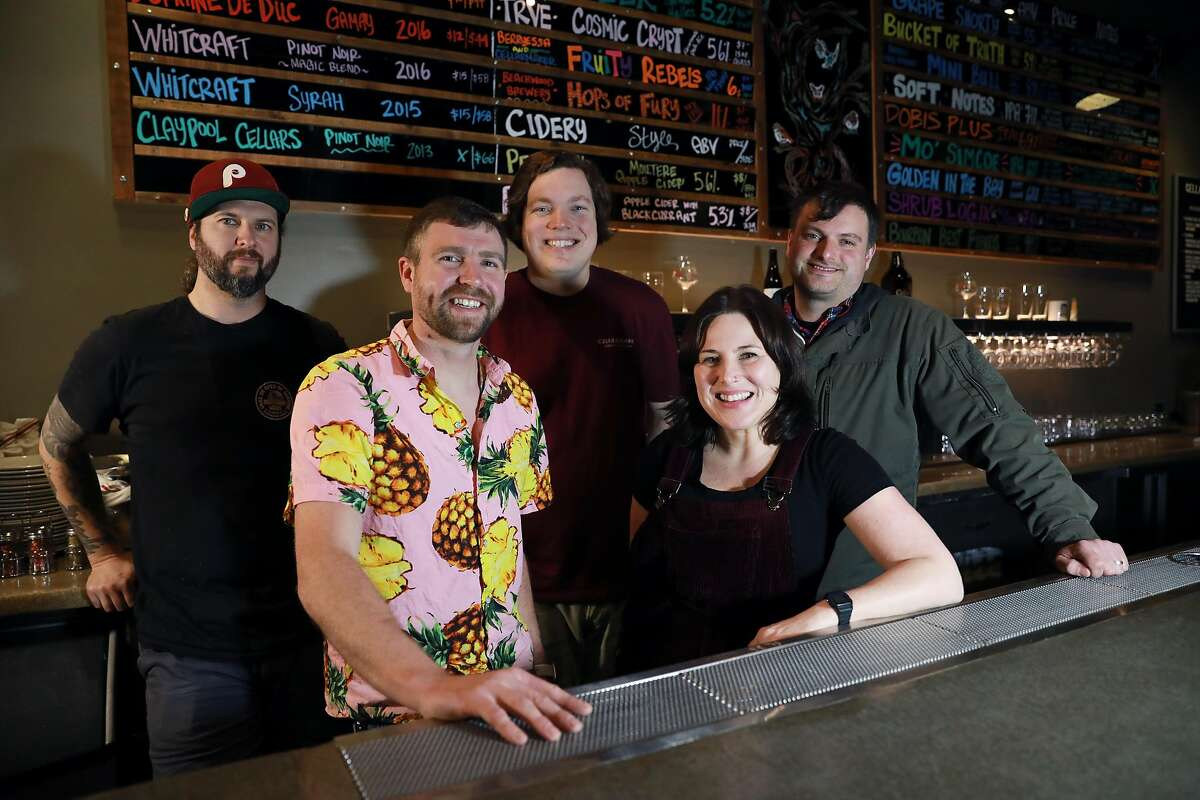 In 2019, Michael Malyniwsky, executive chef (from left to right), Jeff Fisher, general manager, Connor Casey, owner, Kelly Sciascia, owner, and Tim Sciascia, owner, pose for a portrait at Cellarmaker House of Pizza in San Francisco.