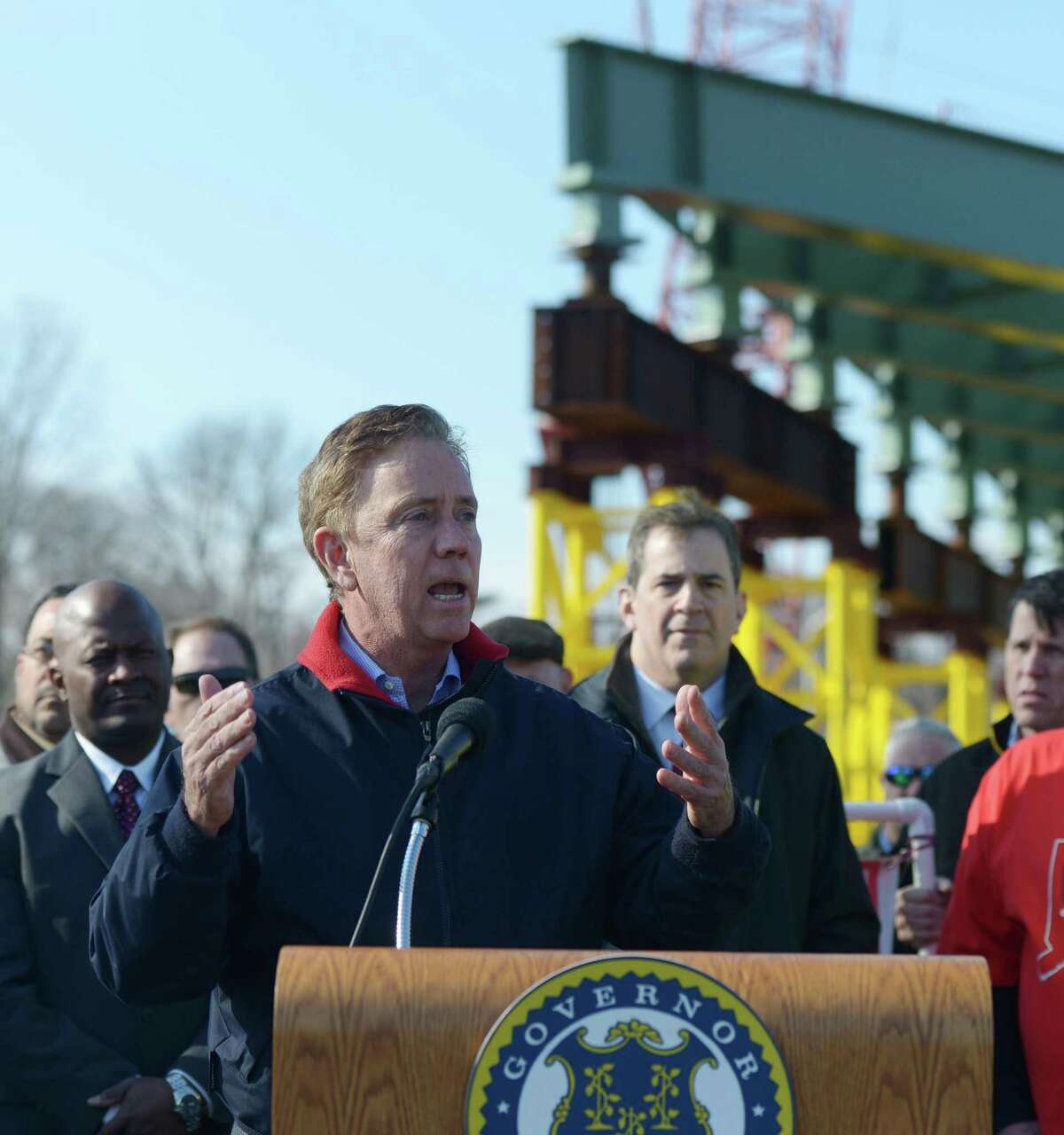 Connecticut Gov. Ned Lamont speaks about the new overpass being built spanning I-95's Exit 9 in Stamford, Conn. Monday, March 11, 2019. Connecticut Gov. Ned Lamont joined Stamford Mayor David Martin to talk about the replacement of the bridge that spans across I-95 at East Main Street and the importance of investing in the state's infrastructure.