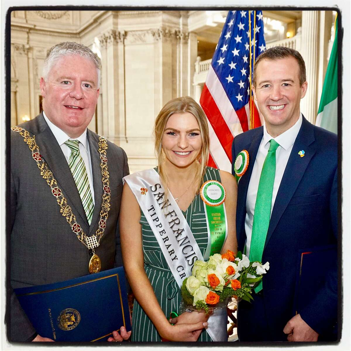 Lord Mayor of Cork Mick Flynn (left) with Rose of Tralee winner Brooklynn Quinn and Irish Consul General Robert O'Driscoll at City Hall. March 8, 2019.