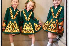 Murphy Irish Dancers (from left) Molly Spillane, Grace Devlin and her sister Neve Devlin at City Hall. March 8, 2019.