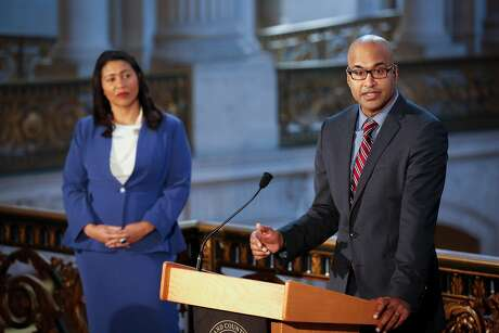 Manohar Raju, the city's new public defender appointed by London Breed, speaks during a press conference at SF City Hall on Monday, March 11, 2019 in San Francisco, Calif.
