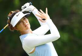 SINGAPORE, SINGAPORE - FEBRUARY 28: Michelle Wie of United States plays her shot from the 14th tee during the first round of the HSBC Women's World Championship at Sentosa Golf Club on February 28, 2019 in Singapore. (Photo by Ross Kinnaird/Getty Images)