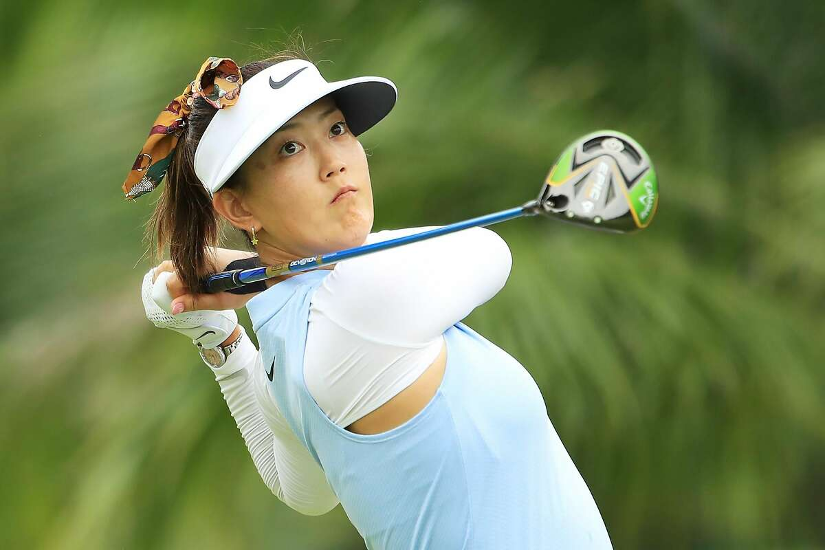 SINGAPORE, SINGAPORE - FEBRUARY 28: Michelle Wie of United States plays her shot from the second tee during the first round of the HSBC Women's World Championship at Sentosa Golf Club on February 28, 2019 in Singapore. (Photo by Andrew Redington/Getty Images)