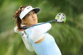 SINGAPORE - FEBRUARY 28: Michelle Wie of United States plays her shot from the second tee during the first round of the HSBC Women's World Championship at Sentosa Golf Club on February 28, 2019 in Singapore.