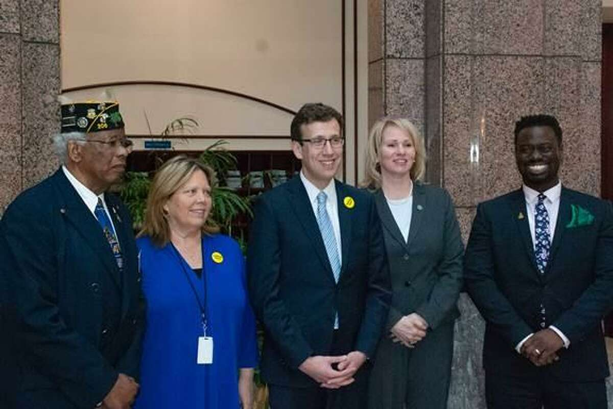 In this contributed photo, from left: Commander David Roane of the Harry Ruffin, Jr. American Legion Post 206, state Sens, Mary Abrams and Matt Lesser, Middletown Common Council Deputy Majority Leader Mary Bartolotta and state Rep. Quentin Phipps in the State Capitol after Roane, Lesser, Bartolotta and Phipps testified to the Veterans' Affairs Committee.