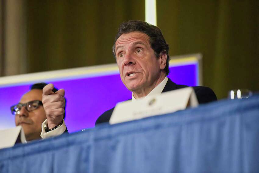 Governor Andrew Cuomo talks to members of the media during a press conference at the Capitol on Monday, March 11, 2019, in Albany, N.Y. (Paul Buckowski/Times Union)