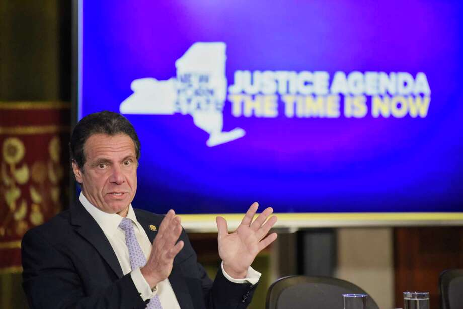 Governor Andrew Cuomo talks to members of the media during a press conference at the Capitol on Monday, March 11, 2019, in Albany, N.Y.  (Paul Buckowski/Times Union) Photo: Paul Buckowski, Albany Times Union / (Paul Buckowski/Times Union)