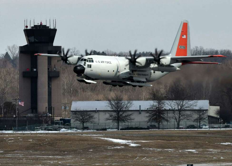 A New York Air National Guard LC-130 ski-equipped aircraft from the 109th Airlift Wing, based at Stratton Air National Guard Base in Glenville, performs touch-and-go landings during a training exercise at Albany International Airport on Monday, March 11, 2019, in Colonie, N.Y. (Will Waldron/Times Union)