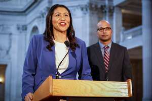 London Breed introduces the city's next public defender, Manohar Raju during a press conference at SF City Hall on Monday, March 11, 2019 in San Francisco, Calif.
