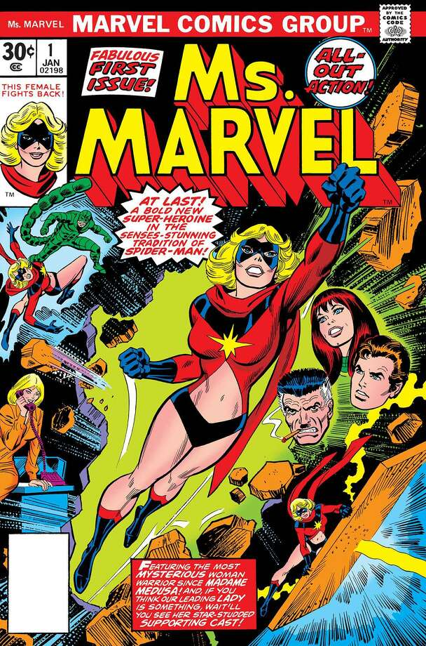 """Captain Marvel"" #1 (1977) had plenty of navel engagement. Art by John Romita Sr. (Copyright Marvel Entertainment Inc./TNS) Photo: Handout, HO / TNS / Marvel Entertainment Inc."