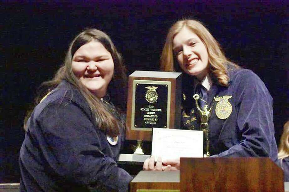 Laker freshman Peyton Kuhn, left, was the state winner in FFA Creed Speaking at the FFA state convention March 6-8. (Submitted Photo)