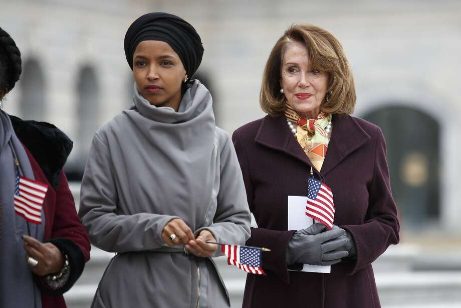 FILE — Rep. Ilhan Omar (D-Minn.), left, with House Speaker Nancy Pelosi (D-Calif.) on Capitol Hill in Washington, March 8, 2019.  Photo: Tom Brenner, NYT