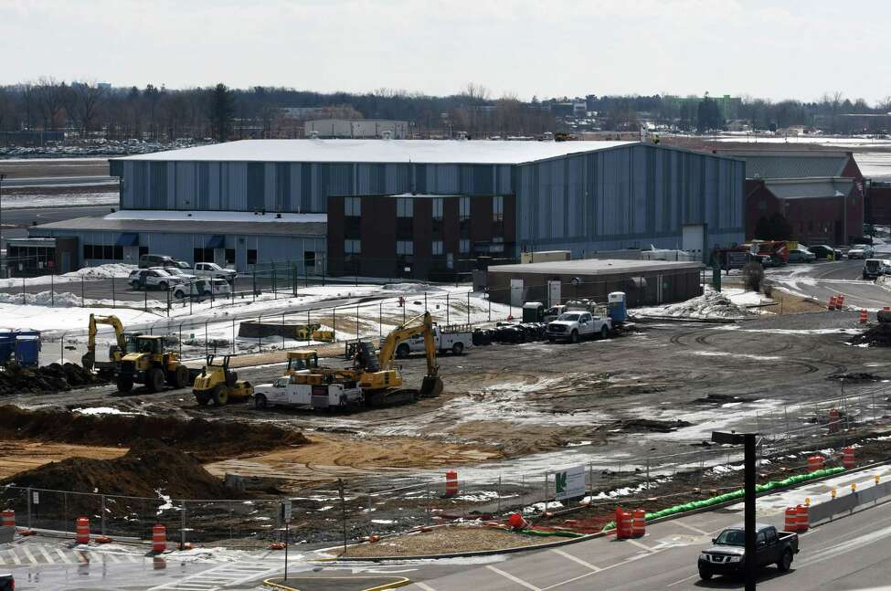 Construction of a new parking garage is underway at Albany International Airport on Monday, March 11, 2019, in Colonie, N.Y. (Will Waldron/Times Union)