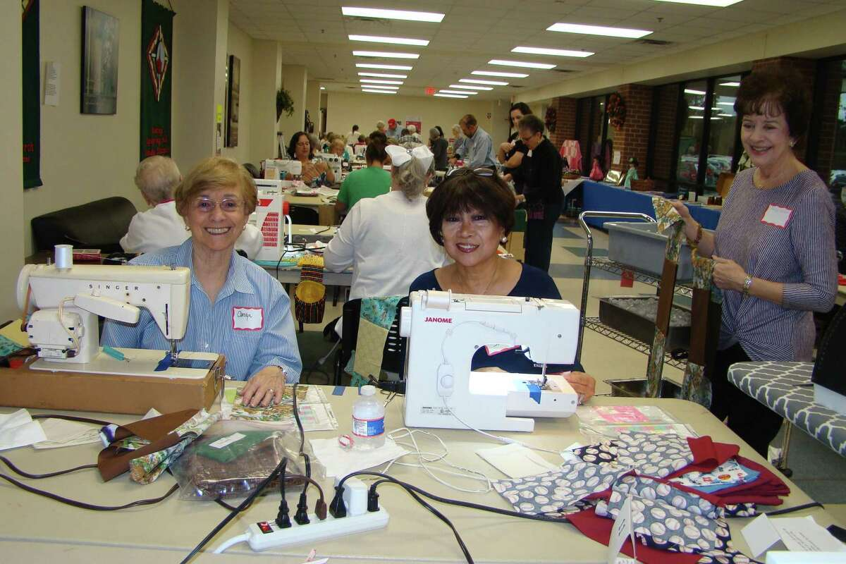 Carolyn Schack, Nina Schaefer and Nancy Sanders participating inthe 10th Annual Sew-a-Thon on Feb. 23organized by the Mission Sewing Group at First Presbyterian Church of Conroe, 2727 West Loop 336 West in Conroe.
