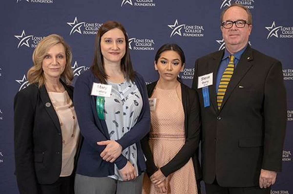 Lone Star College students shared their stories of attending LSC at the 26th annual Chancellor's Breakfast. Each student received a $1,000 LSC Foundation scholarship. Pictured (left to right) are Dr. Rebecca Riley, LSC-Montgomery president; Mary Vallery, LSC-Montgomery student; Sarai Barragan, LSC-Conroe Center; and Steve Berry, LSC Foundation board member.