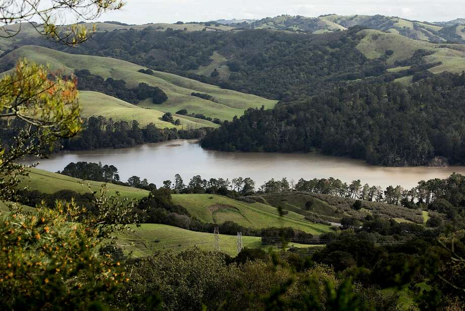 San Pablo Reservoir is seen from Wildcat Canyon Road near Inspiration Point in Orinda. It is freshly stocked with trout. Photo: Jessica Christian / The Chronicle 2019