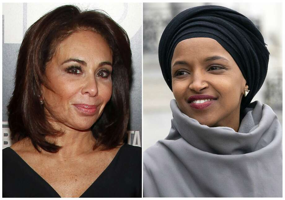 "This combination photo shows Fox News host Jeanine Pirro at the HBO Documentary Series premiere of ""THE JINX: The Life and Deaths of Robert Durst"" in New York on Jan. 28, 2015, left, and Rep. Ilhan Omar, D-Minn., at a rally outside the Capitol in Washington on March 8, 2019. Omar thanked Fox News on Monday, March 11, for condemning comments made on the network by Pirro centering on the freshman Democrat's wearing of a traditional Muslim head covering. Pirro questioned whether Omar's wearing a hijab indicated her adherence to Sharia law. (AP Photo) Photo: Associated Press"