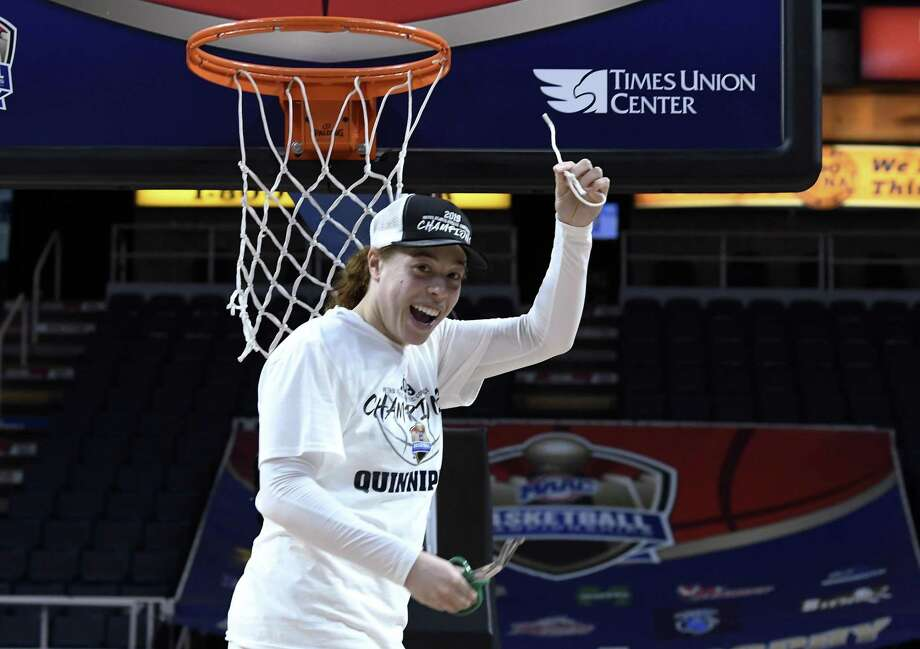 Quinnipiac forward Jen Fay, the tournament most valuable player, cuts down the net after defeating Marist in the Metro Atlantic Athletic Conference women's tournament NCAA college championship game, Monday, March 11, 2019, in Albany, N.Y. (AP Photo/Hans Pennink)/ Photo: Hans Pennink / Associated Press / Copyright 2019 The Associated Press. All rights reserved.