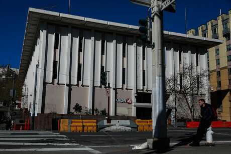 The exterior of a the shuttered Kron4 News building on Van Ness Avenue is seen in San Francisco, California, on Monday, March 11, 2019. It was considered as a potential site for a new navigation center for the homeless.