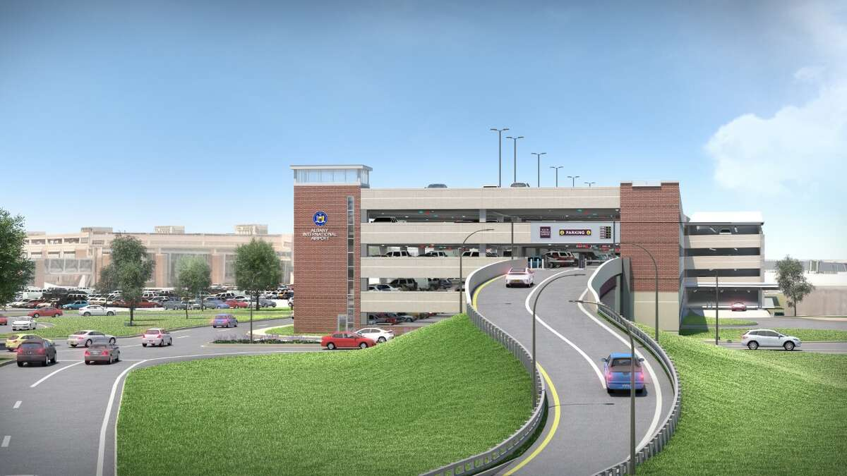 Rendering of proposed new parking garage at Albany International Airport.