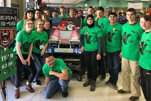The Norwalk Cybears Robotics Team at its first competition of the season, March 9, 2019, in Waterbury, Conn.