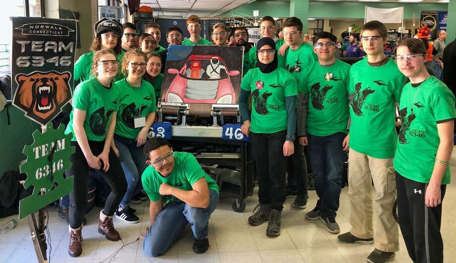 The Norwalk Cybears Robotics Team at its first competition of the season, March 9, 2019, in Waterbury, Conn. Photo: Contributed