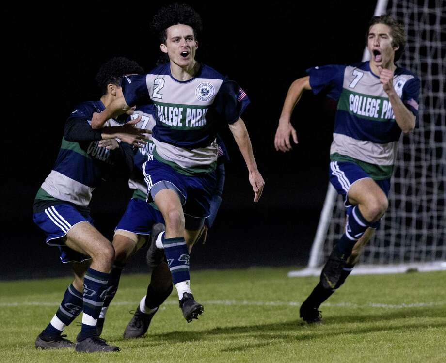 College Park forward Mike Dadaria (2) reacts after scoring a goal to tie the game 1-1 during the first period of a District 15-6A high school soccer match at College Park High School, Friday, Jan. 25, 2019, in The Woodlands. Photo: Jason Fochtman, Houston Chronicle / Staff Photographer / © 2019 Houston Chronicle