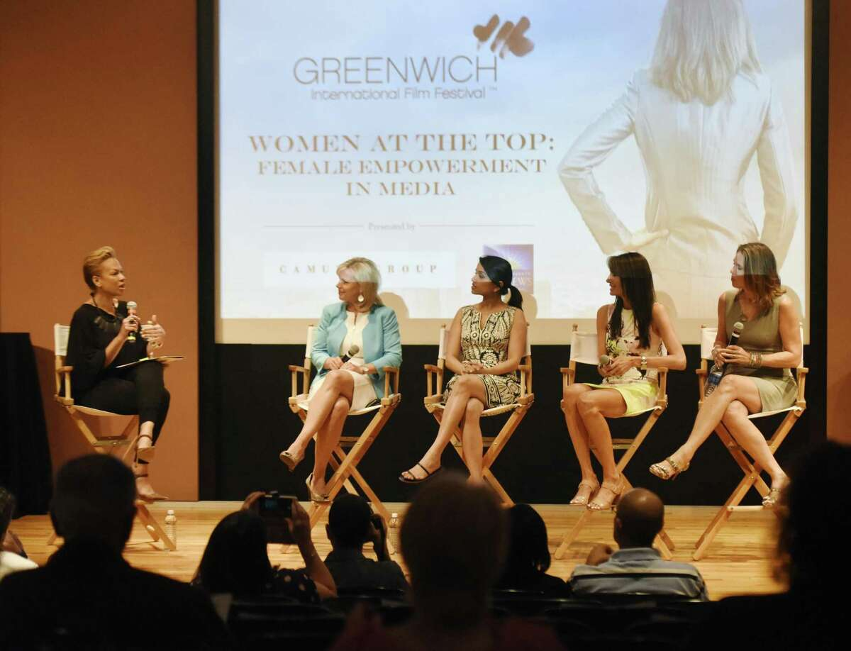"""From left, moderator Tonya Lewis Lee, FOX's Gretchen Carlson, CBS's Reena Ninan, MAKERS.com's Nancy Armstrong, and ESPN's Hannah Storm speak during the Greenwich International Film Festival's """"Women at the Top: Female Empowerment in Media"""" panel discussion at Greenwich Library's Cole Auditorium in Greenwich, Conn., June 12, 2016. Men should not fear mentoring women, but embrace the idea and help break the gender-based glass ceiling."""