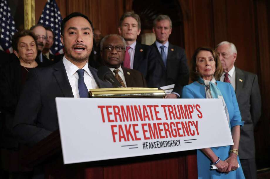 Rep. Joaquin Castro, D-San Antonio, speaks during a news conference about the resolution he has sponsored to terminate President Donald Trump's emergency declaration Feb. 25. The Senate should also vote for rescinding the declaration — with a veto-proof majority. Photo: Chip Somodevilla /Getty Images / 2019 Getty Images