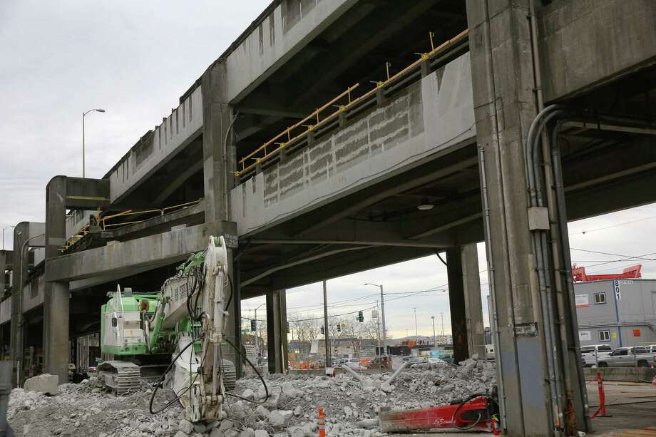 Demolition on the double decker sections of the Alaskan Way Viaduct will begin Wednesday near Columbia Street. More than 20 million pounds of steel and concrete have already been removed and officials say they are about 15% done with the demolition. Photographed March 11, 2019. Photo: Genna Martin / seattlepi.com
